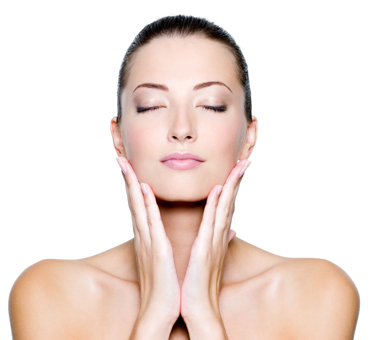 Face with closed eyes of a beautiful woman salon entre nous for Skins beauty salon